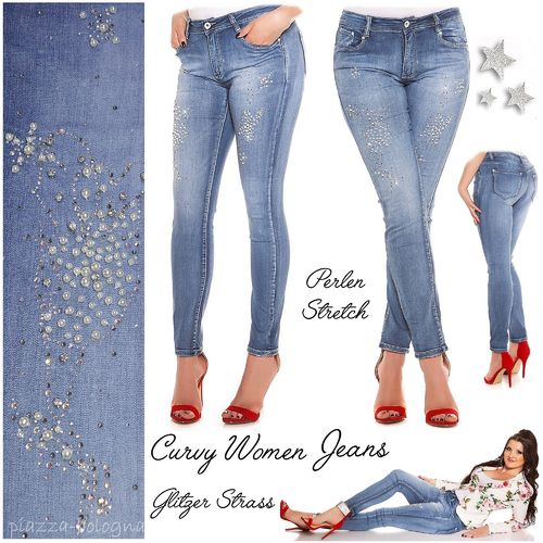 CURVY WOMEN * MY CHRISTY JEANS MIT GLITZER-STRASS & PERLEN GR. 50 (5XL)