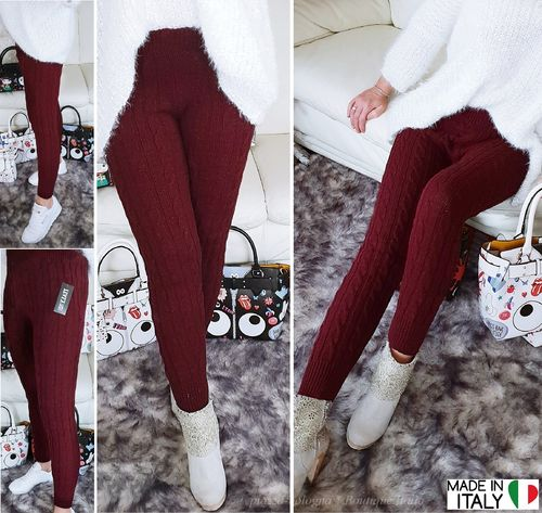 ITALY STRICK STRETCH HOSE ZOPFMUSTER LOUNGEWEAR BORDEAUX-ROT GR. 36-38-40 S-M-L