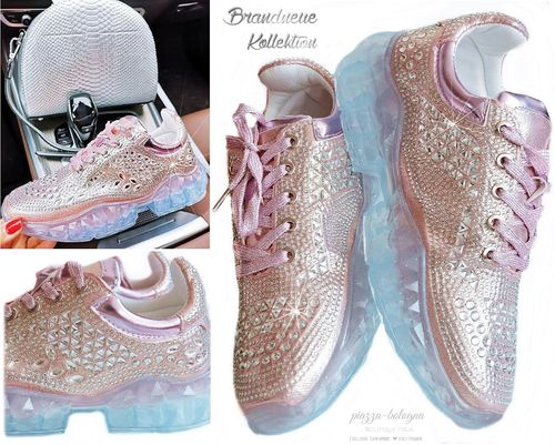 Sneakers Kristall-Look Strass Glitzer Schimmer Turnschuhe Rosa Italy GR. 38 39 40 41