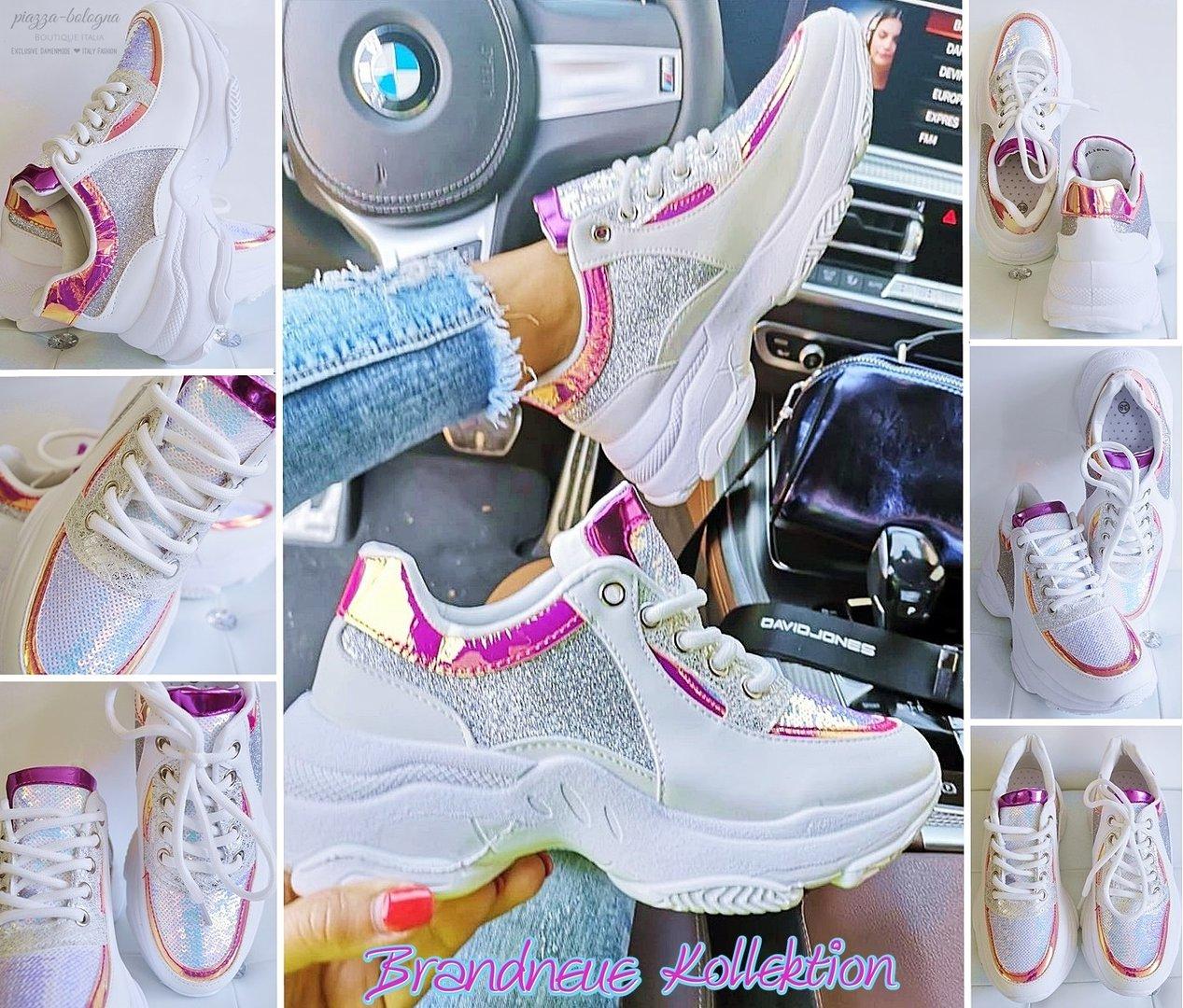 reputable site 9b7b0 f8ce7 Pailletten-Hologramm-Glitzer Sneaker Turnschuhe Weiß Silber Pink Rosa GR.  38 39 40 41
