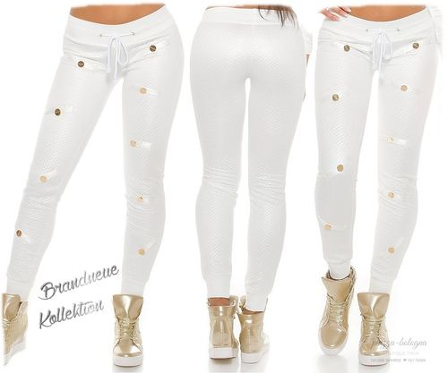 Coole Hose Stepp-Look Satin-Glanz gold farbigen Plättchen Jogpants 38 (M) 40 (L) Weiß