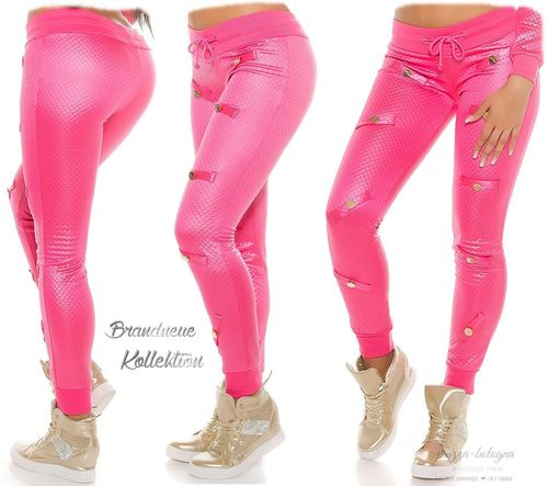 Coole Hose Stepp-Look Satin-Glanz gold farbigen Plättchen Jogpants 38 (M) 40 (L) Pink