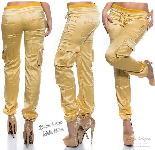 Cargo Hose Satin-Glanz-Optik Jogpants Röhre 36-38 (S-M) 38-40 (M-L) 40-42 (L-XL) Gold