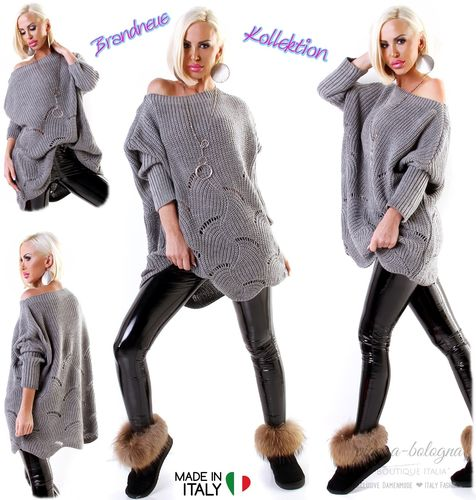 Strick Long Pullover Oversize mit Muster Grau Italy Gr. 38-40-42-44 (M-L-XL-XXL)