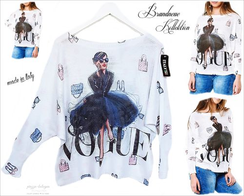 GR. 36 38 S-M Sommer-Strick Pullover Vogue-Fashion Prints Fledermaus-Arme Shirt Italy