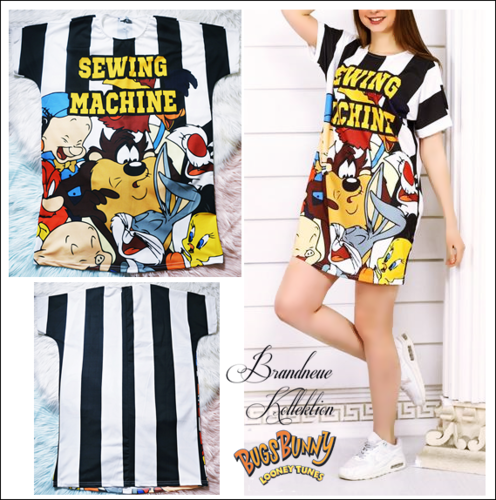 Gr. 36 38 40 S-M-L Stretch Long Shirt & Kleid Bugs Bunny Cartoon Looney Toons made in Italy