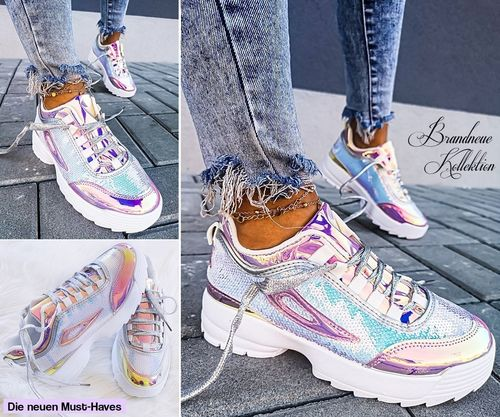 GR. 37 38 39 40 Low Sneakers Holographic Pailletten Hologramm Eisblau Lila Pink Air Flash Turnschuhe