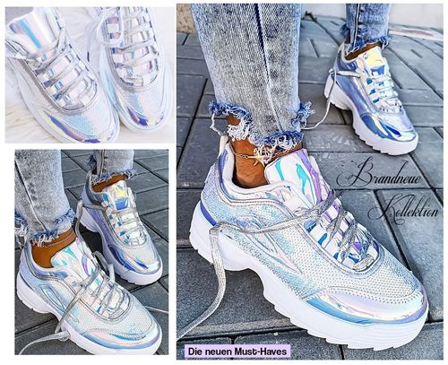 GR. 37 38 Low Sneakers Holographic Pailletten Hologramm Eisblau-Weiß Air Flash Turnschuhe