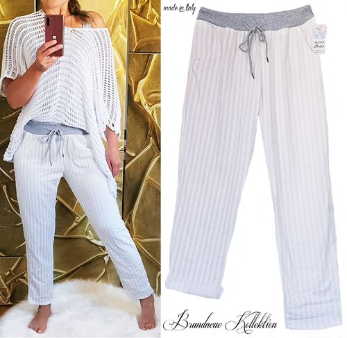 Gr. 36 38 S-M leichte Sommer Chino Jogpants Boyfriend Baggy Hose Weiß Hell-Grau Italy