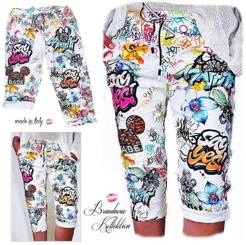 Gr. 36 38 40 S-M-L Kurze Hose Chino Boyfriend Baggy Mickey Cartoon Graffiti Comic Shorts Capri Italy
