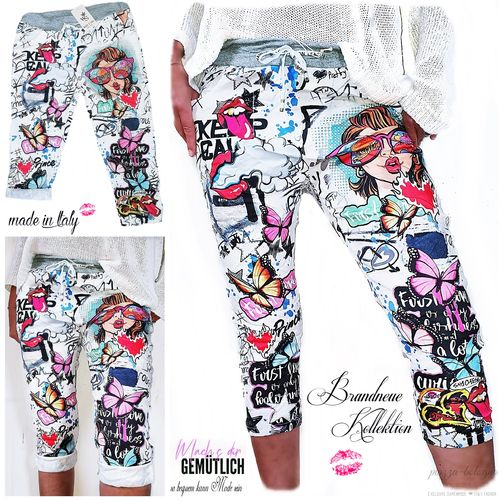 Gr. 36 38 40 S-M-L Kurze Hose Chino Boyfriend Baggy Streetstyle Cartoon Graffiti Shorts Capri Italy