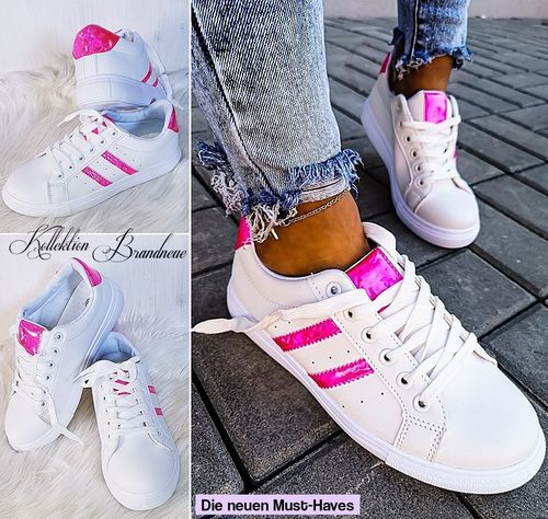 GR. 38 39 40 Sneakers Low Cut Stripes Holographic Turnschuhe Sportschuhe Air Flash Weiß-Pink