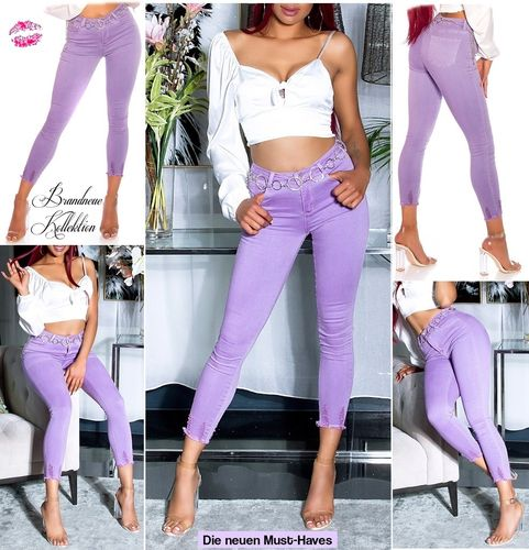 Gr. 34 36 38 (XS S M) WoW Stretch Jeans HighWaist Skinny Röhre Destroyed Violett Hell-Lila