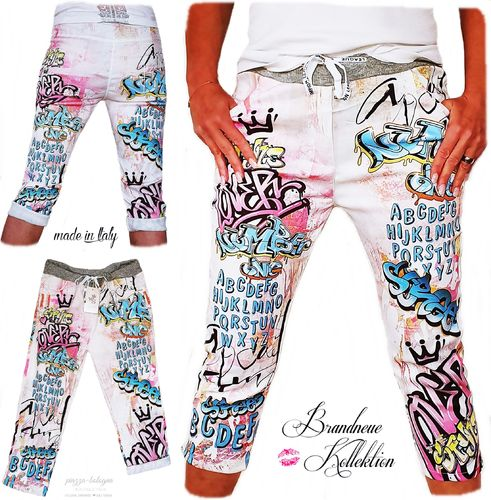 GR. 36 38 S-M Capri Hose Streetstyle Graffiti Comic Cartoon Prints Boyfriend Baggy Jogpant Italy