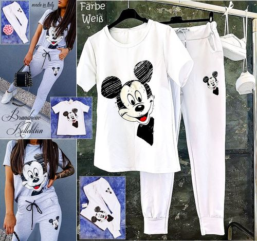 GR. 36 38 S-M 2-teiliges Outfit Mickey Mouse Hose & Shirt Set Kombi Zweiteiler Weiß Italy