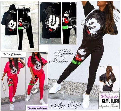 GR. 36 38 S-M 2-teiliges Outfit Mickey Mouse Hose & Shirt Set Kombi Zweiteiler Schwarz Italy