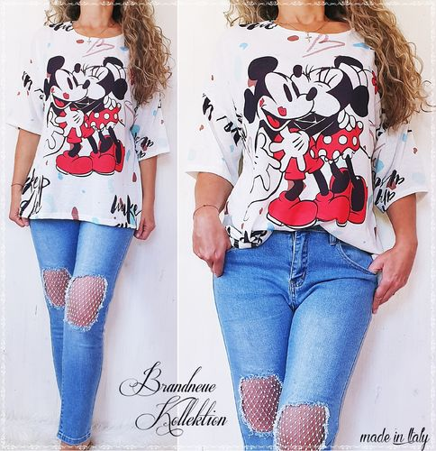 GR. 38 40 42 44 Big Shirt Mickey & Minnie in Love Prints Tunika Oversize M L XL XXL Italy