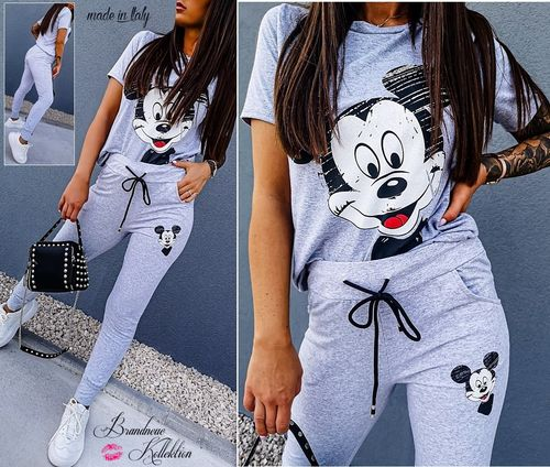 GR. 36 38 S-M 2-teiliges Outfit Mickey Mouse Hose & Shirt Set Kombi Zweiteiler Grau Italy
