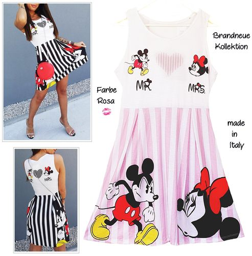 GR. 36 38 S-M Kleid Mickey & Minnie Mouse MR & MRS Print Streifen Shirt-Kleid Rosa-Weiß Italy