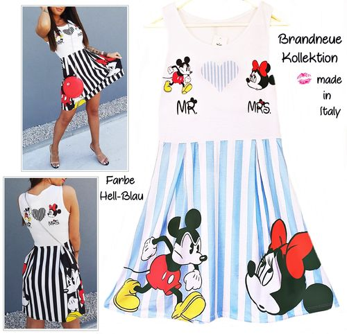 GR. 36 38 S-M Kleid Mickey & Minnie Mouse MR & MRS Print Streifen Shirt-Kleid Hell-Blau -Weiß Italy