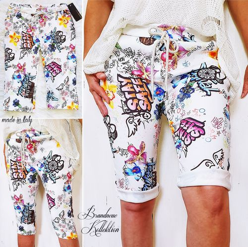 GR. 42 44 46 XL-XXL-3XL Bermuda Shorts Mickey Mouse Comic Graffiti Baggy Übergröße Italy