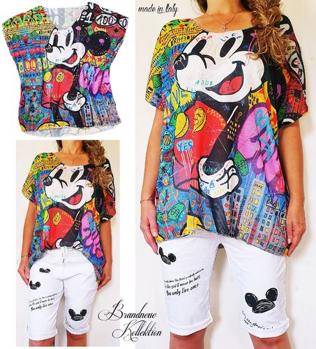 Gr. 38 40 42 44 46 Shirt Mickey Graffiti Prints Viskose Stretch Oversize M-L-XL-XXL-3XL Italy