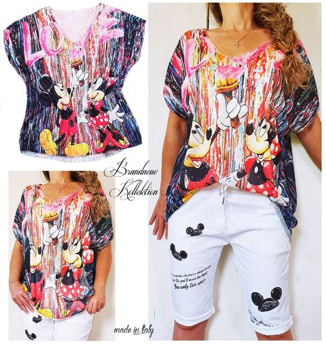 Gr. 38 40 42 44 46 Shirt Mickey & Minnie Mouse Graffiti Viskose-Mix Oversize M-L-XL-XXL-3XL Italy