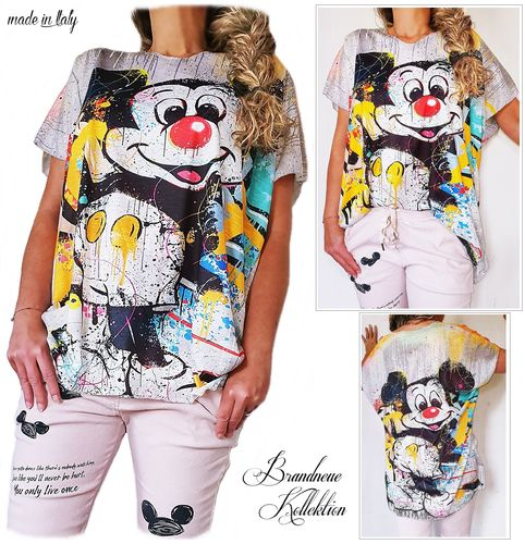 GR. 38 40 42 44 M-L-XL-XXL Shirt Mickey Mouse Graffiti Prints Baumwolle-Mix Oversize Italy