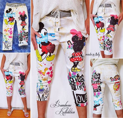 Gr. 36 38 S-M Capri Mickey & Minnie Mouse Comic Graffiti Prints Boyfriend Baggy 3/4 Hose Mouse Short
