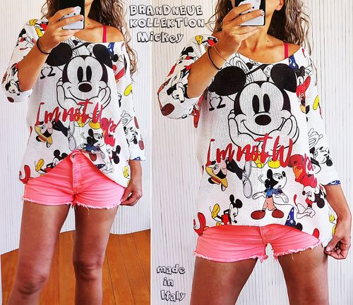 NEU 38 40 42 44 Strick Shirt 3/4 Arm Pulli Mickey Comic Cartoon Bunt M-L-XL-XXL