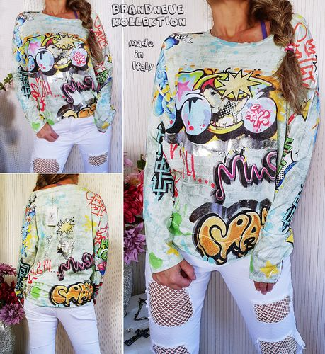 38 40 42 M-L-XL Pullover strukturierter Stoff Graffiti Comic Cartoon Metallic Print Sweat Grün Italy