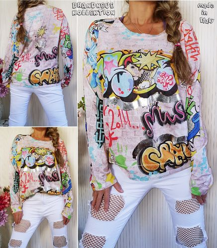 38 40 42 M-L-XL Pullover strukturierter Stoff Graffiti Comic Cartoon Metallic Print Sweat Rosa Italy