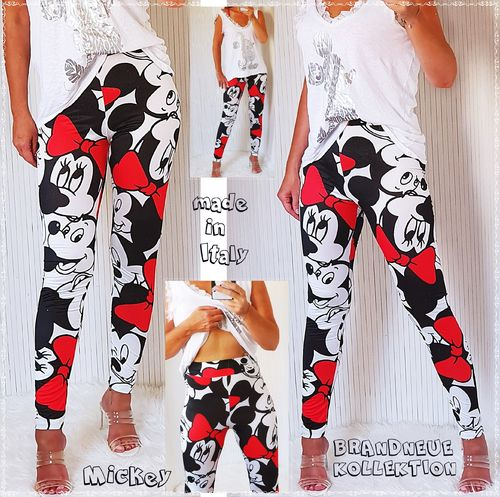 36 38 S-M Stretch Hose Mickey & Minnie Mouse Prints Leggings High Waist Schwarz-Ecru-Rot Italy