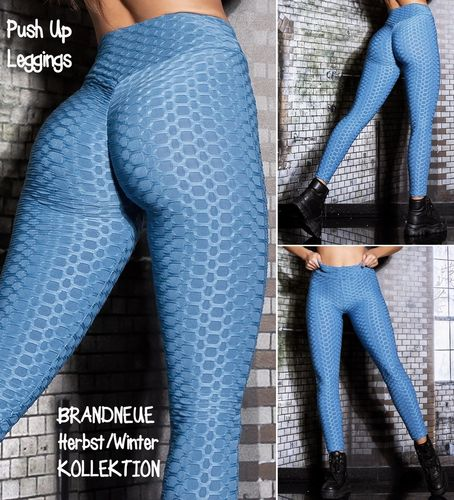 Gr. 40 42 L-XL Shaping PUSH UP Stretch Leggings hohe Taille Hose Skinny Wabenmuster Blau