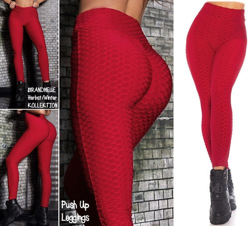 Gr. 40 42 L-XL Shaping PUSH UP Stretch Leggings hohe Taille Hose Skinny Wabenmuster Bordeaux-Rot