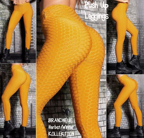 Gr. 36-38 S-M 40-42 L-XL Shaping PUSH UP Stretch Leggings hohe Taille Hose Skinny Wabenmuster Senf