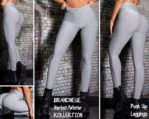 Gr. 36-38 S-M 40-42 L-XL Shaping PUSH UP Stretch Leggings hohe Taille Hose Skinny Wabenmuster Grau