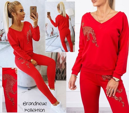 Gr. 36 38 40 S-M-L Outfit 2-Teiler Strass Leopard Hose & Sweatshirt Pullover Set Kombination Rot