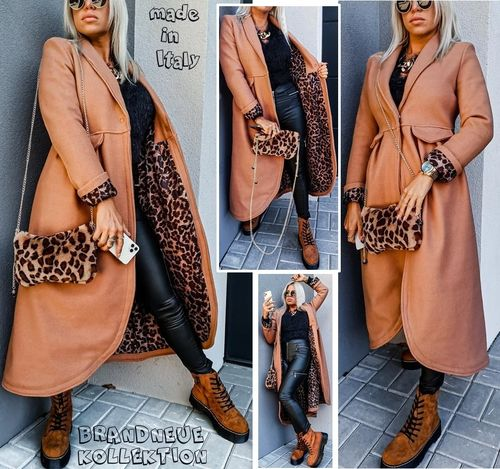 Gr. 36 38 S-M Wollmantel Mantel Leo-Leopard Optik Winter Jacke Boucle Camel Braun Italy