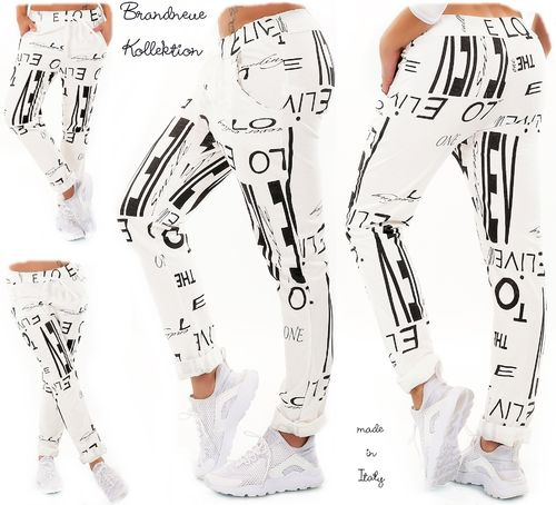 GR. 36 38 S-M Hose Jogpants Style allover Schrift Prints Baggy Chino Cotton Cremeweiß Italy