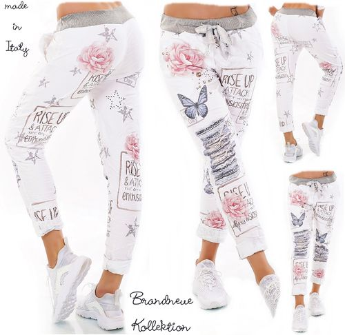 GR. 36 38 S-M Hose Jogpants Style Sterne Rosen Destroyed Prints Baggy Chino Weiß Italy