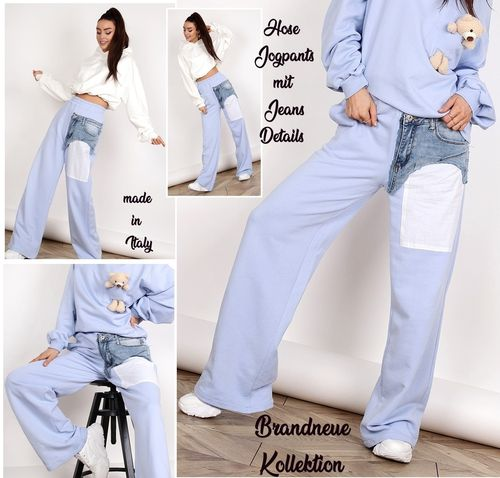 GR. 36 S / 38 M Hose mit Jeans Denim Applikation weites Bein Jogpants Jogger Pastell Lila Italy